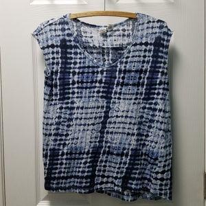 ARTISAN NY Tye Dye Cap Sleeve Linen Top